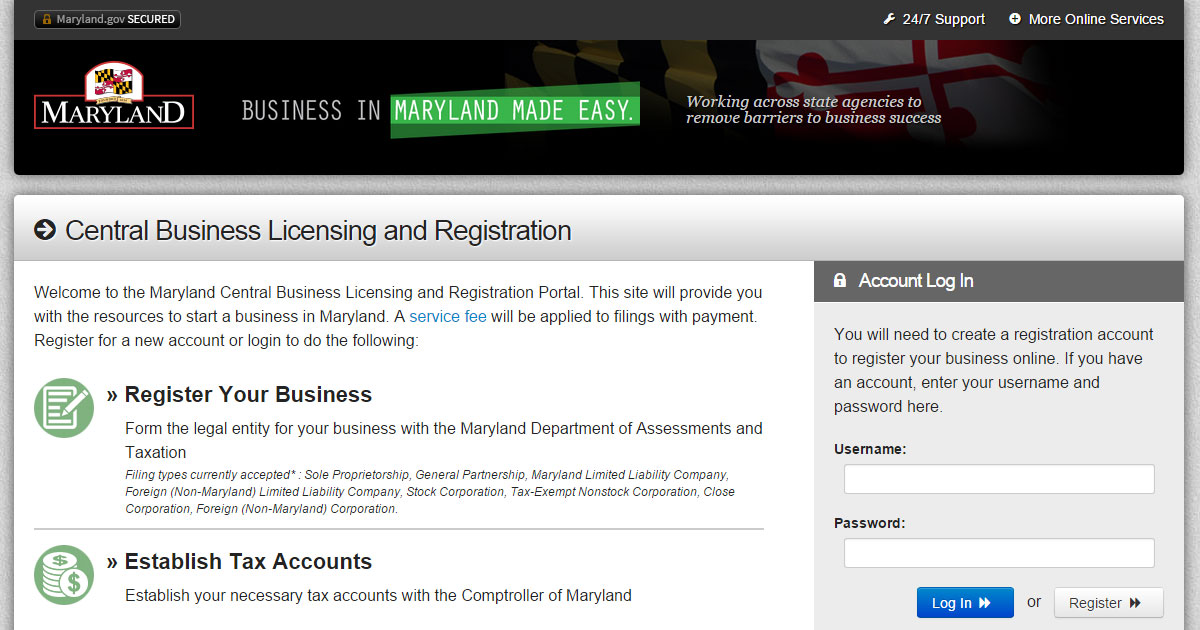 Maryland Central Business Licensing
